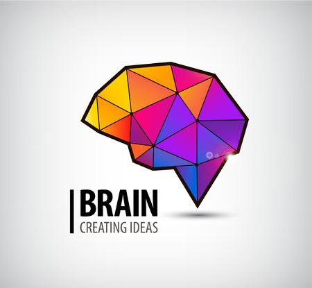 벡터 크리스탈 뇌 로고, 아이콘, 일러스트 레이 션입니다. 화려한 3D 기하학적 기호 일러스트