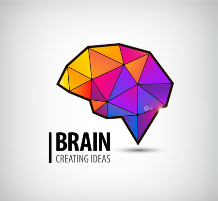 vector crystal brain logo, icon, illustration. Colorful 3d geometric sign
