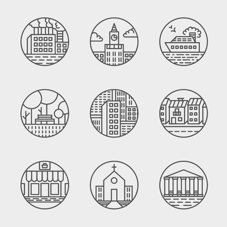 moder: Vector set of thin icons design set. Moder simple line icons. Ultra thin buildings city icons