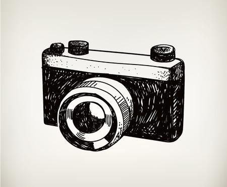 vector retro hand drawn hipster photo camera isolated Illustration