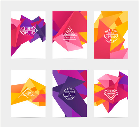 technical background: abstract colorful user interface template set collection labels in geometric triangular pattern with trendy white thin line logos Illustration