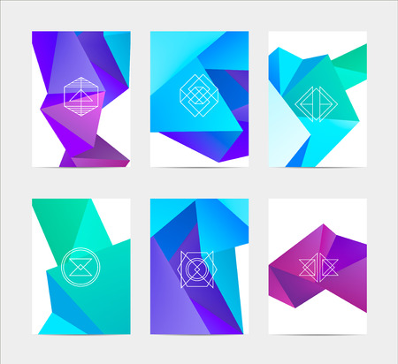 catalog design: abstract colorful user interface template set collection labels in geometric triangular pattern with trendy white thin line logos Illustration