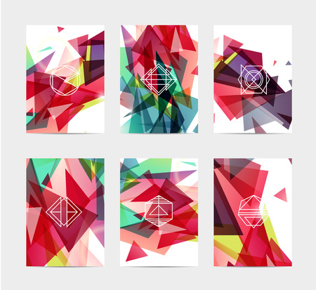 business flyer: abstract colorful user interface template set collection labels in geometric triangular pattern with trendy white thin line logos Illustration