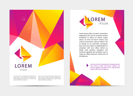 branding: Vector document, letter or logo style cover brochure and letterhead template design mockup set for business presentations. multicolored geometrical shapes pattern. Flyer, modern faceted design