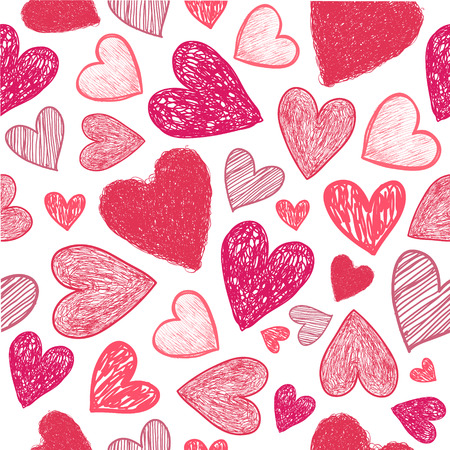 Vector seamless hand drawn doodle red hearts background. Valentines day template.