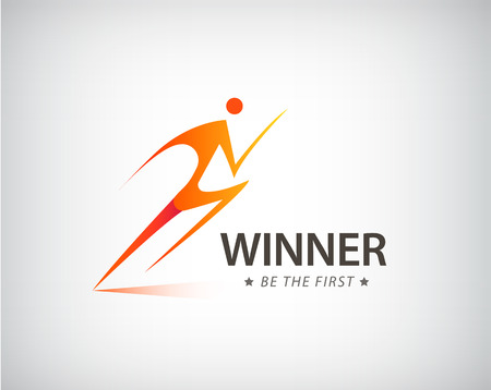 Corporate Success Health Winner logo template. Business concept. Running activity. Human abstract. Vector sport, competition icon. Illustration