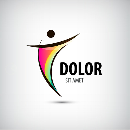 Företags framgång Health Winner logo mall. Affärsidé. Mänsklig abstrakt. Vektor linje färgglad ikon.
