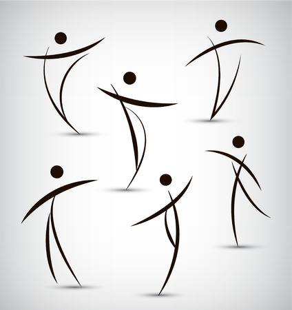 vector set of abstract line man, sport, dance, figure, team icons, logos isolated