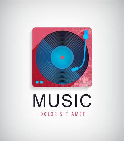 Vector retro music logo, icon with vinyl disk