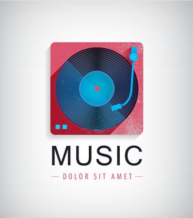 Vector retro music logo, icon with vinyl disk