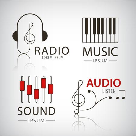 Vector muzikale logo's en iconen set van design elementen muziek en audio concepten Stock Illustratie