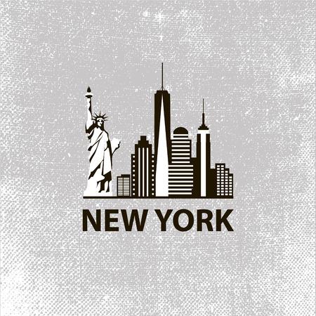 skyline city: New York city architecture retro black and white vector illustration, skyline city silhouette, skyscraper, flat design Illustration
