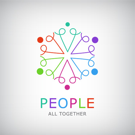vector teamwork, social net, people together icon, company outline logo isolated. Gay and lesbian rainbow logo, icon
