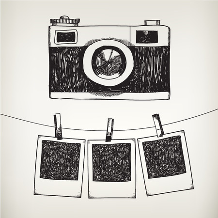 old photograph: Vector hand drawn doodle illustration of retro photo frames and camera. Hanging photos in a photo studio.