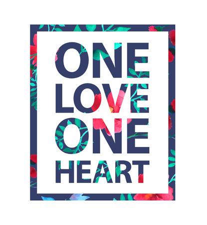 uno: Tropical lema amor de impresión. Un amor cita un solo corazón para la camiseta y otros usos