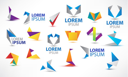 hexagon: Vector colorful origami icon set. Design elements. Abstract logo icons