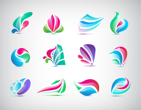 massage symbol: Vector set of abstract colorful spa logos, icons isolated Illustration