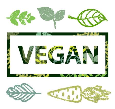 t shirt print: Vector sello vegano, camiseta de impresi�n con hojas iconos ilustraci�n Vectores