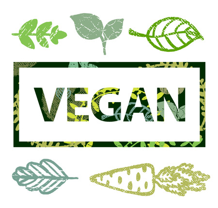 t shirt print: Vector vegan stamp, t shirt print with leaves icons illustration
