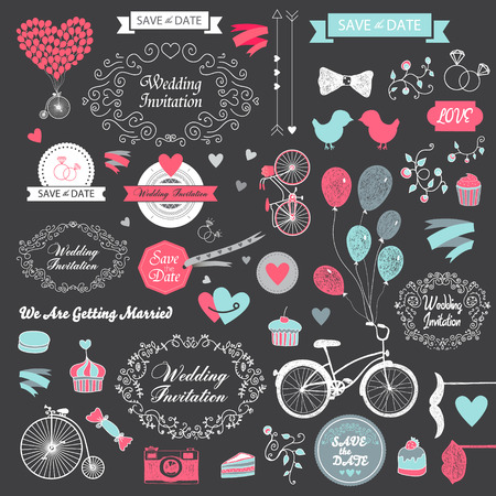 vector set of vintage hand drawn wedding design elements, ribbons,  invitation, decorative elements. Wedding collection