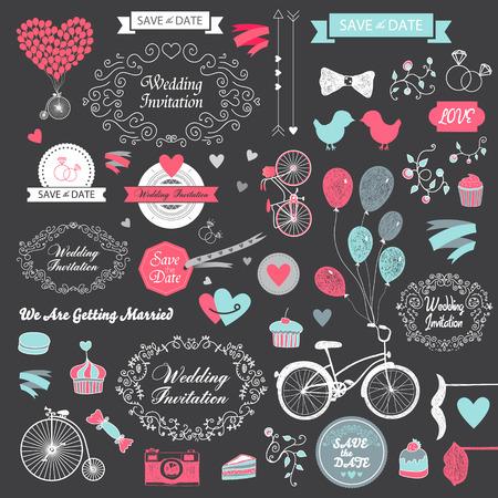 anillo de compromiso: vector conjunto de dibujado a mano elementos de diseño de época de la boda, cintas, invitación, elementos decorativos. Colección de la boda