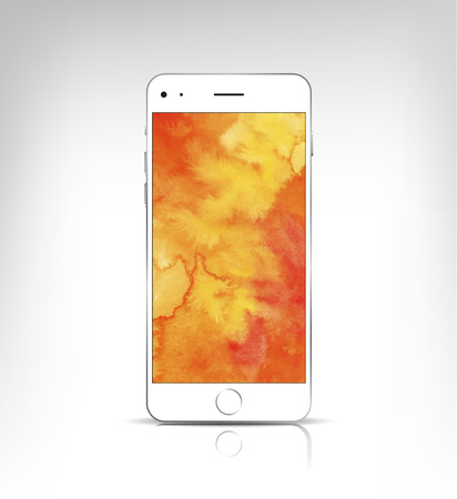 vactor: Vactor realistic white phone with watercolor background isolated