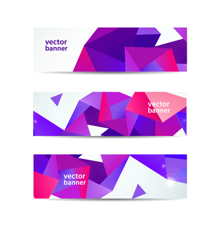 vector set of crystal modern faceted geometric colorful banners isolated Illustration