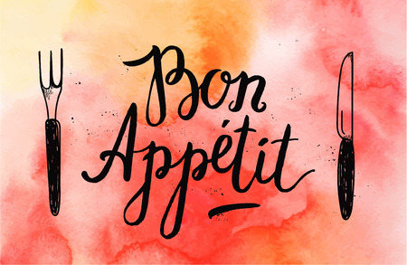 bon: Vector Bon Appetit poster with fork and knife on watercolor red background