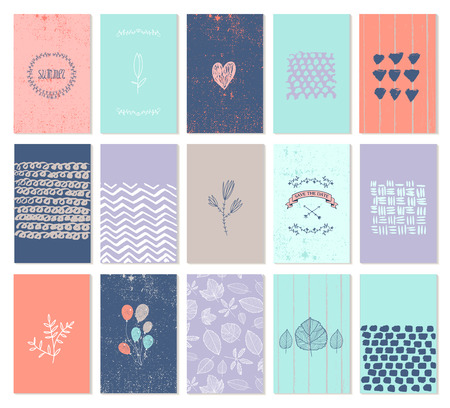 hand heart: Vector set of art cards. Use for wedding invitations, birthday , party, Valentines day. Isolated. Hearts, wreaths, hand drawn patterns Illustration
