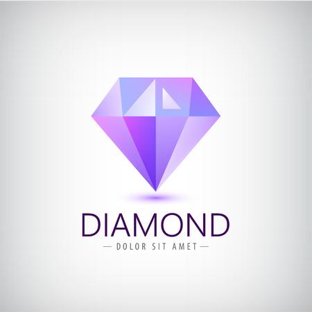 벡터 자주색 다이아몬드 아이콘, 고립 된 로고. 패션, 보석 현대 3D 크리스탈, 정체성