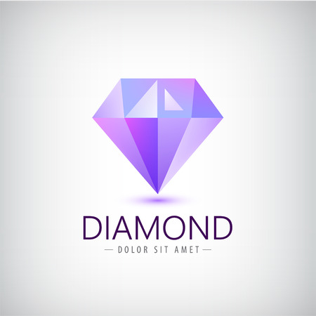 vector purple diamond icon, logo isolated. Fashion, jewelry modern 3d crystal, identity
