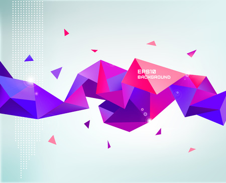 Vector abstract colorful purple faceted crystal banner, 3d shape with triangles, geometric, modern template