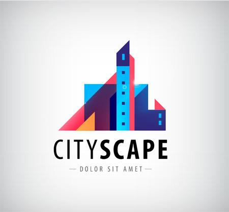 logo batiment: vecteur résumé ville colorée, la construction de signe de composition, icône, isolé logo. Design plat moderne Illustration