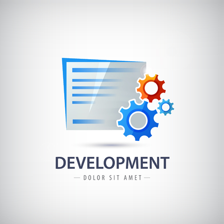 Wed, design development vector logo, icon with shadow. Document with spares. Illustration