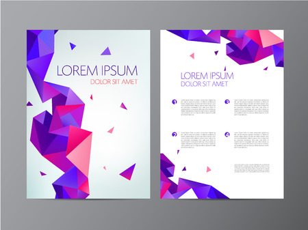 チラシ、緑、青のパンフレット抽象的なデザイン 2 側面、背景、カバーをベクトルします。モダンなクリスタル、幾何学的です  イラスト・ベクター素材