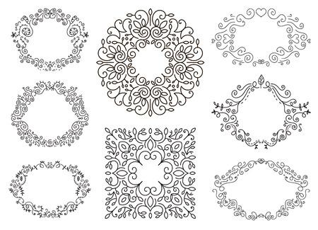 flourish: Flourish black and white frames template set. Swirling calligraphic ornament,doodle floral decor. Vintage line monogram borders. Hand drawing frames,wreath.Retro Vector illustration