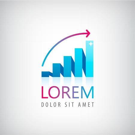 logos empresa: ector creciente logotipo gráfico, icono aislado. Negocio, el concepto de finanzas Vectores