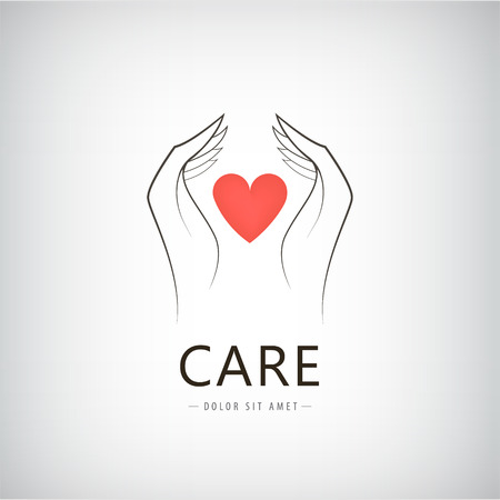 hand holding: Vector charity, medical, care, help logo, icon with line hand holding red heart. Isolated Illustration