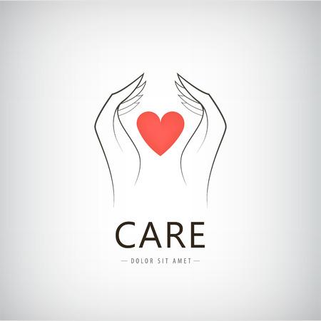 Vector liefdadigheid, medische, zorg, hulp logo, pictogram met lijn hand houden van rood hart. Geïsoleerd Stockfoto - 44438820