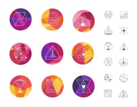 多角形図形のスタイルで色の幾何学的な水晶円のセット。 流行に敏感なレトロな背景とロゴタイプ、ロゴ。