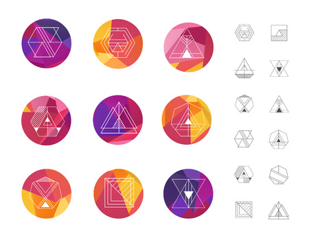 Set of colored geometric crystal circles in polygon style with  shapes.  hipster retro background and logotypes, logos.