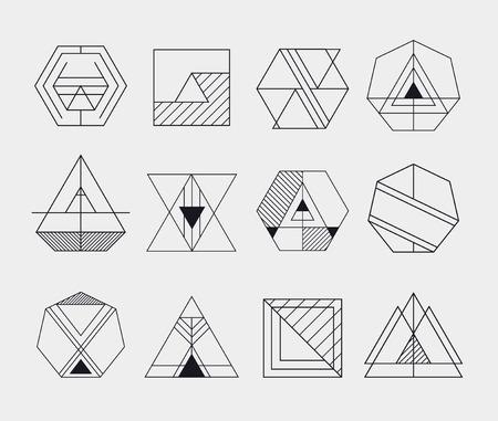 レトロなライン抽象的なヒップスター白黒の幾何学的なバッジ ロゴ、アイコン、ロゴ デザイン テンプレートの設定  イラスト・ベクター素材