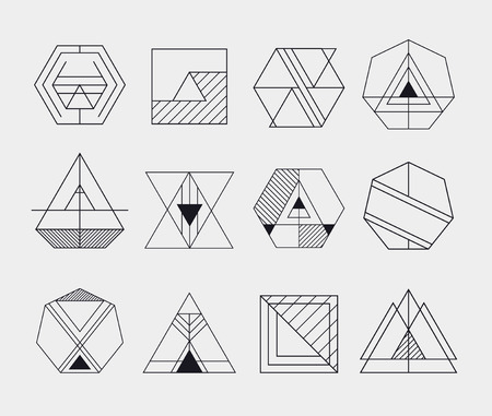 Set of retro line abstract hipster monochrome geometric badge logo, icon, logotype design templates