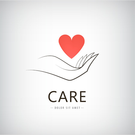 Vector charity, medical, care, help logo, icon with line hand holding red heart. Isolated Illustration