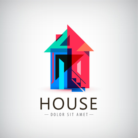 Vector colorful geometric house logo, sign. Modern design Vettoriali
