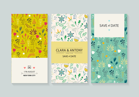 mothers day: Vector set card templates. Use for Save The Date, baby shower, mothers day, valentines, birthday cards, invitations. Cute vintage hand drawn flower backgrounds
