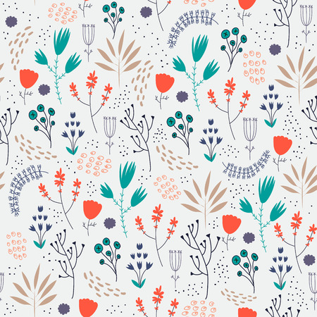 Vector seamless floral pattern. Romantic cute background with hand drawn flowers. Use as fabric, wrapping paper, decor, background of invitations, cards, etc. Illustration