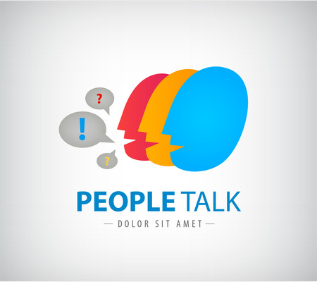 social net: Vector colorful people chat logo, icon.  social net identity Illustration