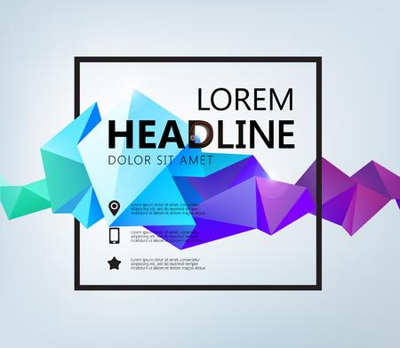 Vector Poster, Banner, Flyer, Cover, Brochure Template design. Moderne kristallen 3D-vorm met ruimte voor tekst en vierkant Stock Illustratie