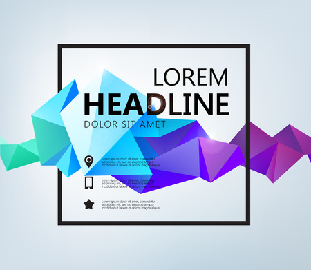 Vector Poster, Banner, Flyer, Cover, Brochure Template design. Modern crystal 3d shape with text space and square